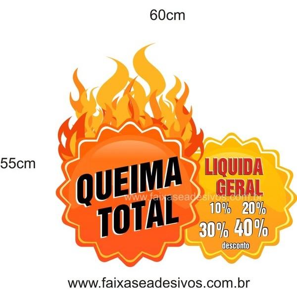 Queima Total Adesivo 60x55cm  - FAC Signs Impressão Digital