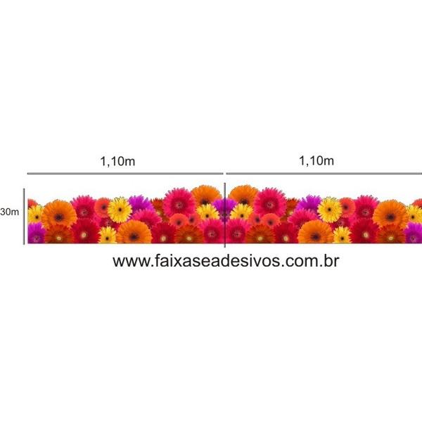 Tarja Adesiva de Gerberas 2 peças 1,10 x 0,30cm  - FAC Signs Impressão Digital