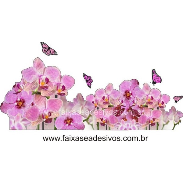 Orquideas e borboletas 2 Adesivos 115x50cm  - FAC Signs Impressão Digital