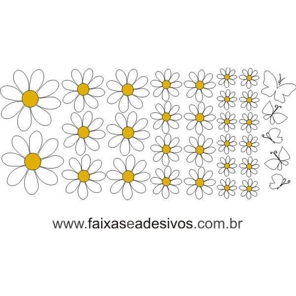 Flores Margaridas cartela 50x120cm  - FAC Signs Impressão Digital