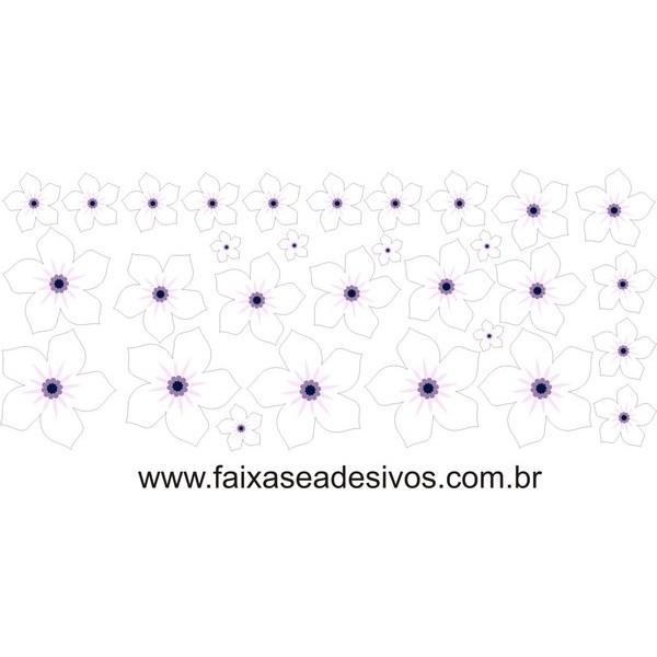 Violetas Brancas adesivo cartela de flores  - FAC Signs Impressão Digital
