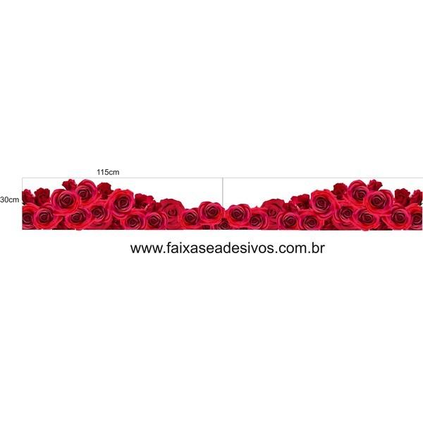 Rosas vermelhas em ondas  115x30cm  - Fac Signs