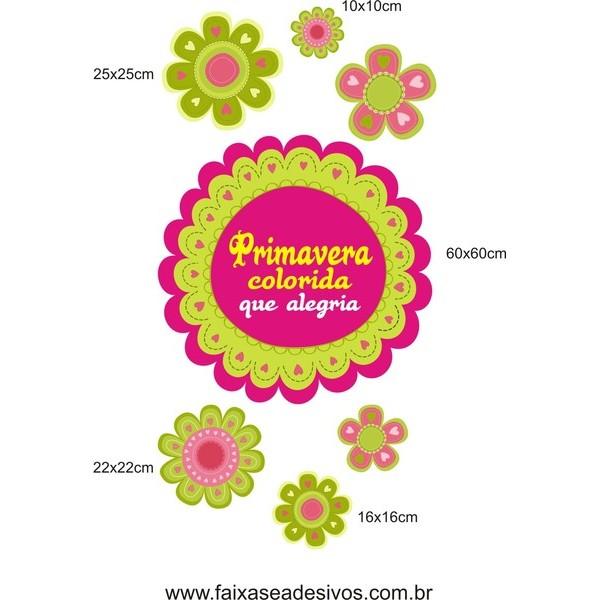 Primavera colorida Flores alegres adesivo 120x60cm  - FAC Signs Impressão Digital
