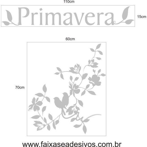 Adesivo Primavera Passáros 1,10 x 0,85m  - FAC Signs Impressão Digital