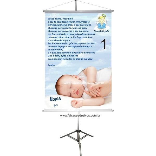 Banner Batizado com foto 100x70cm  - FAC Signs Impressão Digital