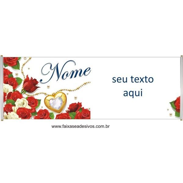 Faixa rosas vermelhas  - Seu texto  - Fac Signs