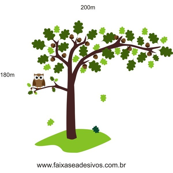 010 - Árvore Adesivo Decorativo - com nozes e corujinha  - FAC Signs Impressão Digital