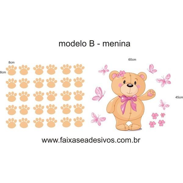 Adesivo Decorativo Ursinhos com pegadas 120x50cm  - Vários modelos e cores  - FAC Signs Impressão Digital
