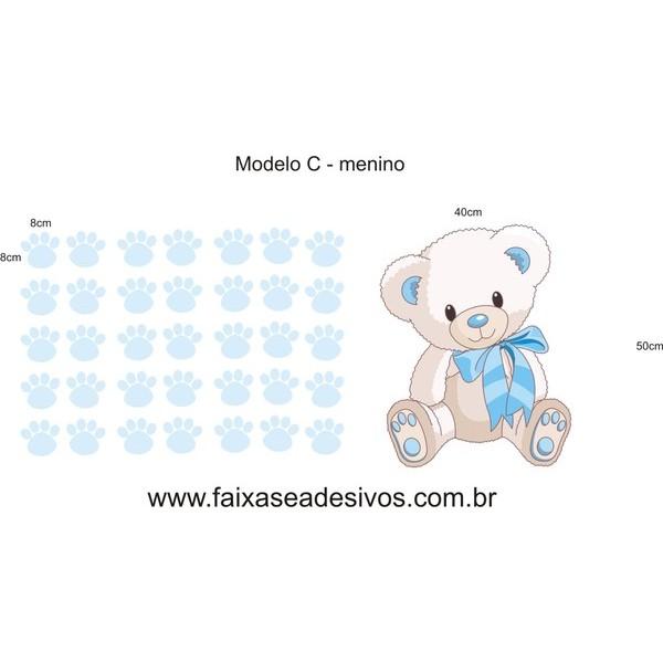 Infantil Adesivo Decorativo Ursinhos com pegadas 120x50cm  - Vários modelos e cores  - FAC Signs Impressão Digital