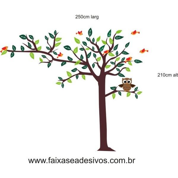 011 - Árvore Adesivo Decorativo  - com passarinhos  - FAC Signs Impressão Digital