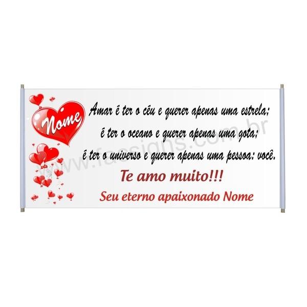 Faixa Parabéns Romântica 1,50 x 0,70m  - FAC Signs Impressão Digital