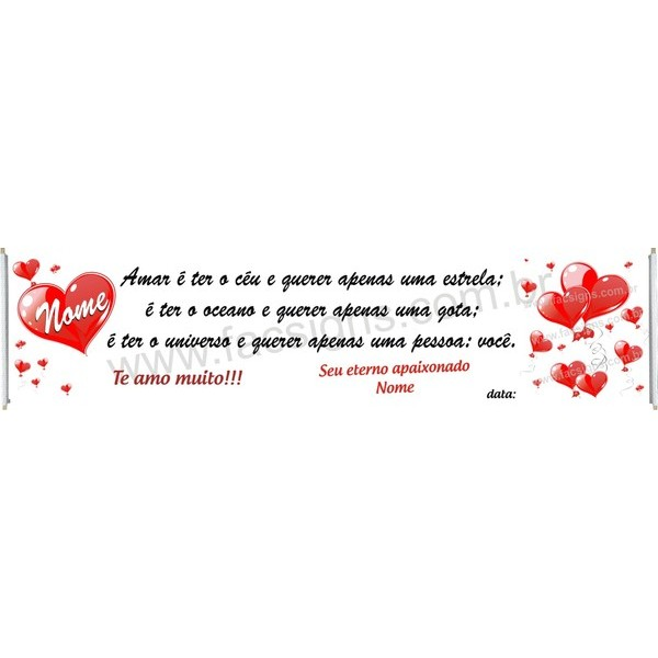 Faixa Romântica Feliz Aniversário 3,00 x 0,70m  - FAC Signs Impressão Digital