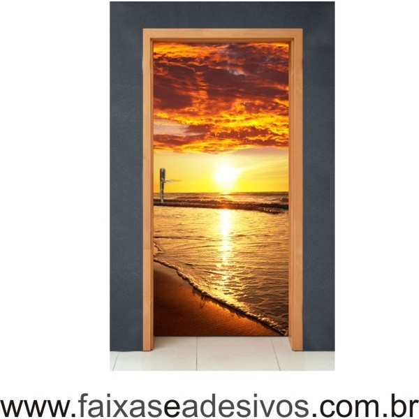 Por do Sol na praia - Decorativo para porta  - Fac Signs