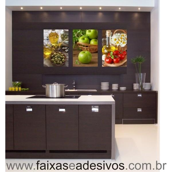 Decorativo de Cozinha 3 Placas Trio AZ MÇ TF  - FAC Signs Impressão Digital