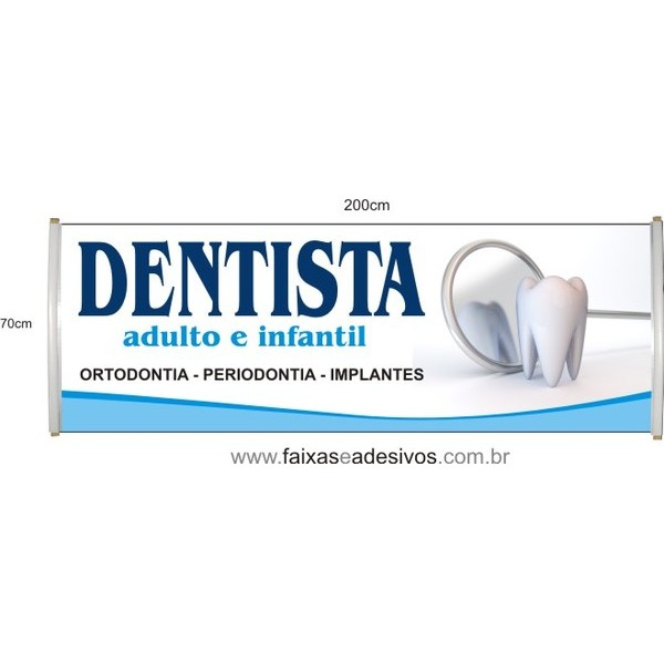 Faixa Dentista 2,00 x 0,70  - FAC Signs Impressão Digital