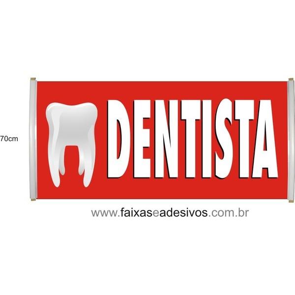 Faixa Impressa Dentista Vermelha  - FAC Signs Impressão Digital
