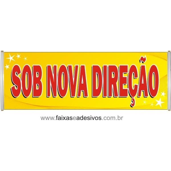 Faixa Sob Nova Direção Amarela  - FAC Signs Impressão Digital