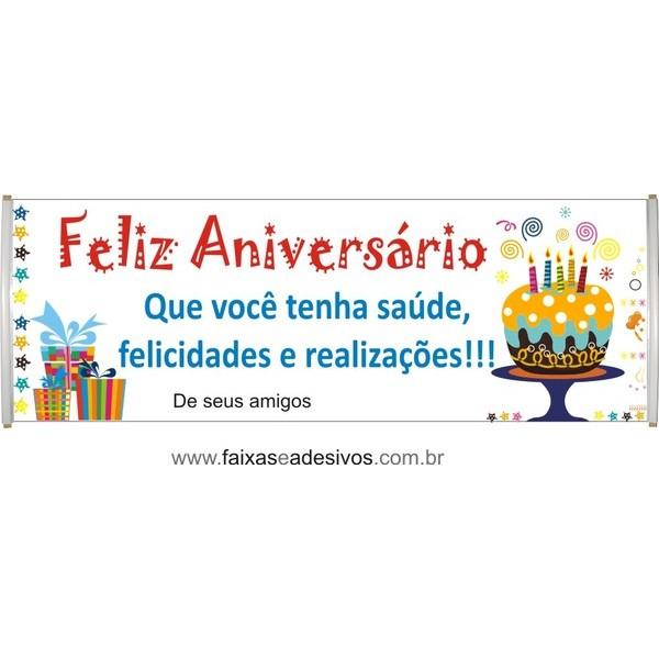 547 - Faixa Aniversário Bolo 2,00 x 0,70m  - FAC Signs Impressão Digital