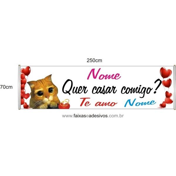 Faixa Quer Casar Comigo? Gato de Botas 2,50 x 0,70m  - FAC Signs Impressão Digital