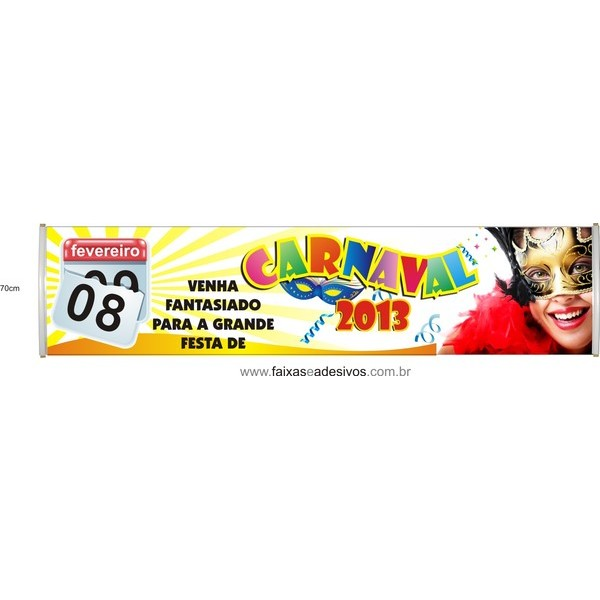 Faixa Carnaval FAN08 3,00 x 0,70m  - FAC Signs Impressão Digital