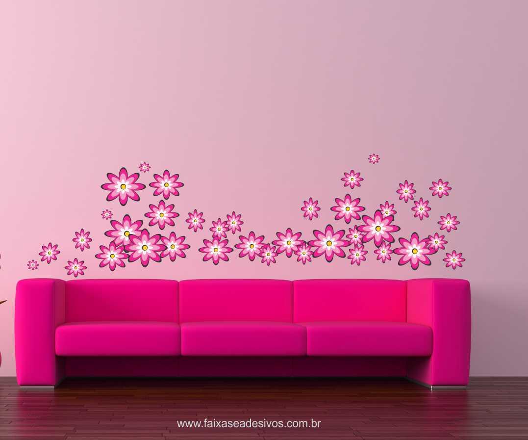 Pikê Flores Pink adesivo cartela 1,20 x 1,40cm  - FAC Signs Impressão Digital