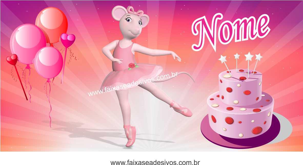 Painel de Aniversário 001 Angelina Bailarina 200x140  - FAC Signs Impressão Digital