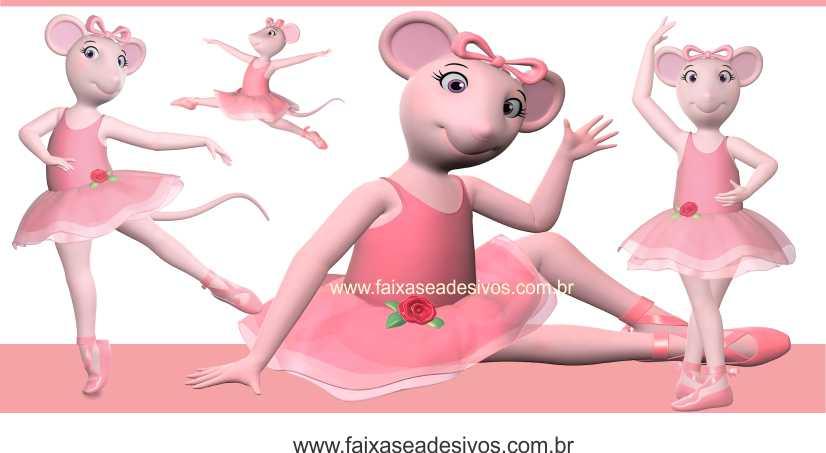 Painel de Aniversário 002 Angelina Bailarina 2x1  - Fac Signs