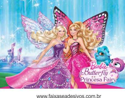 painel de Aniversário 018 Barbie Butterfly 200x140cm  - Fac Signs