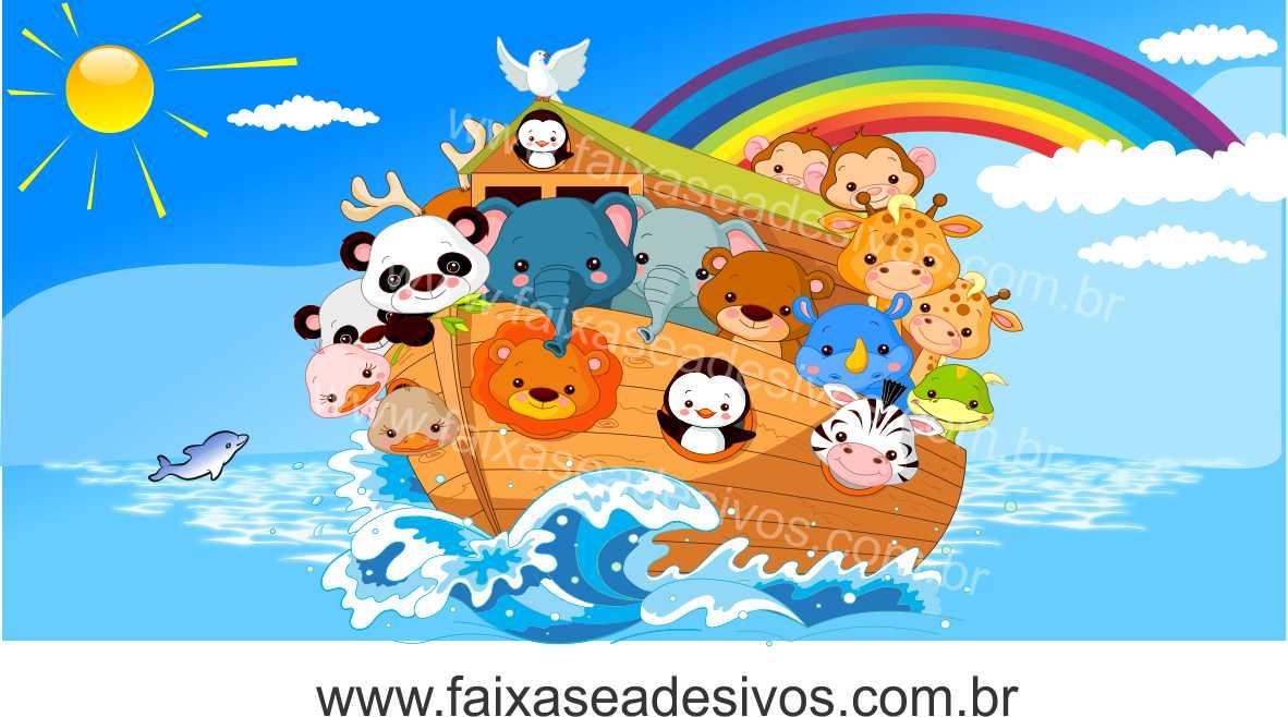 Painel de Aniversário 027 Arca de Noé - 1x2m  - Fac Signs