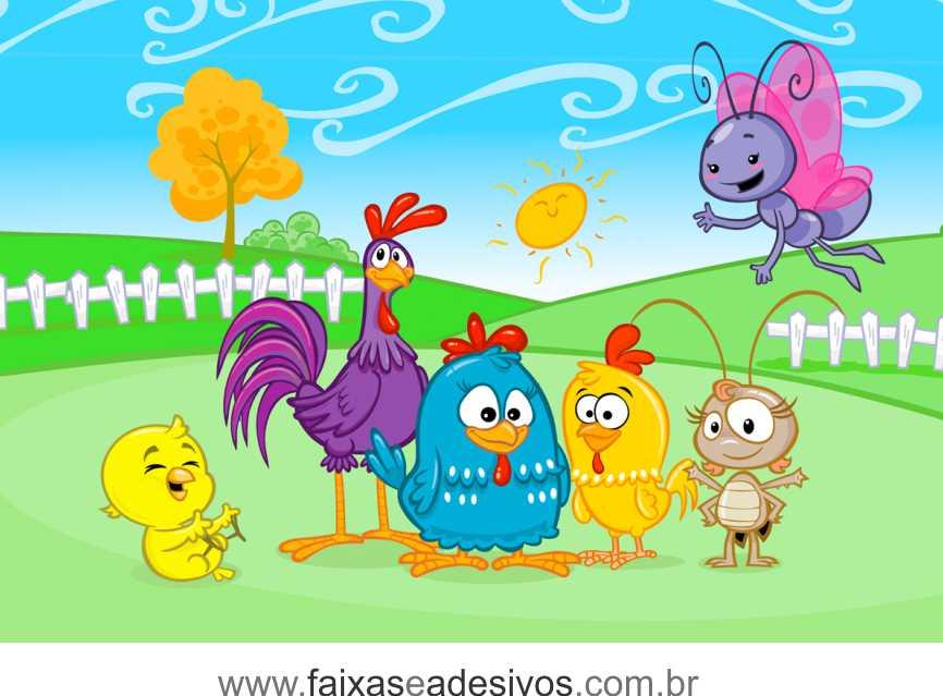 Painel de Aniversário 039 Galinha Pintadinha - 1,00x1,50m  - Fac Signs