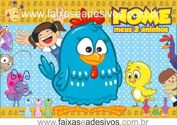 Painel de aniversário 044 Galinha Pintadinha - 1,00x1,50m  - Fac Signs