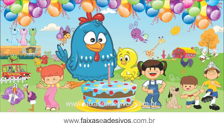 Painel de aniversário 045 Galinha Pintadinha - 1,00x2,00m  - FAC Signs Impressão Digital
