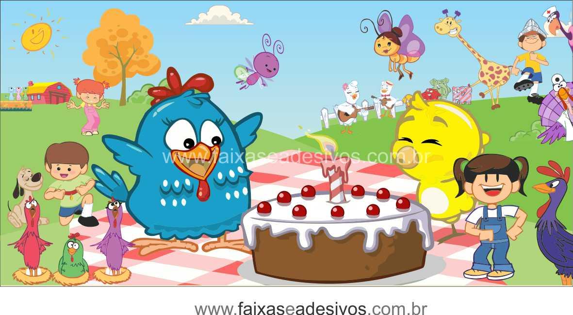 Painel de aniversário 046 Galinha Pintadinha 1,00x2,00m  - Fac Signs
