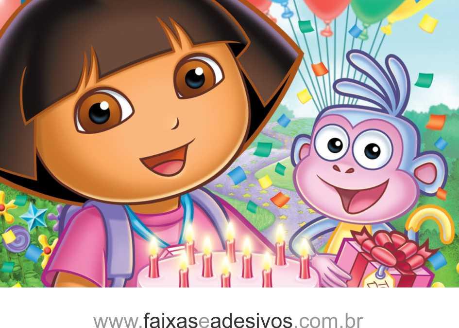 Painel de aniversário 056 Dora Aventureira 2,00x1,40m  - Fac Signs