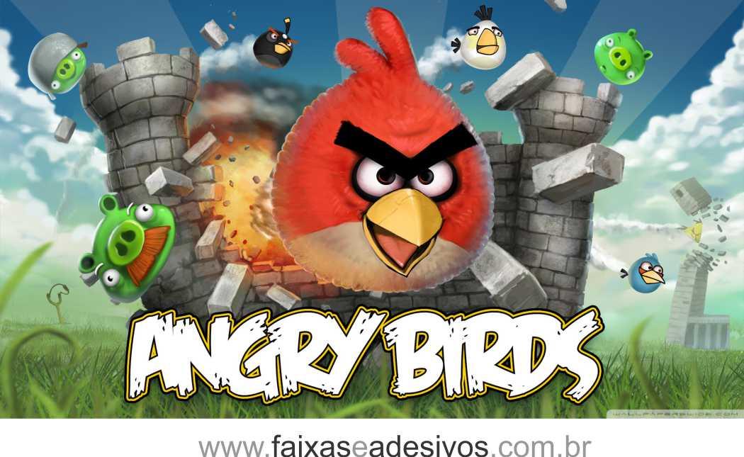 Painel de aniversário 070 Angry Bird 1,00x2,00m  - FAC Signs Impressão Digital