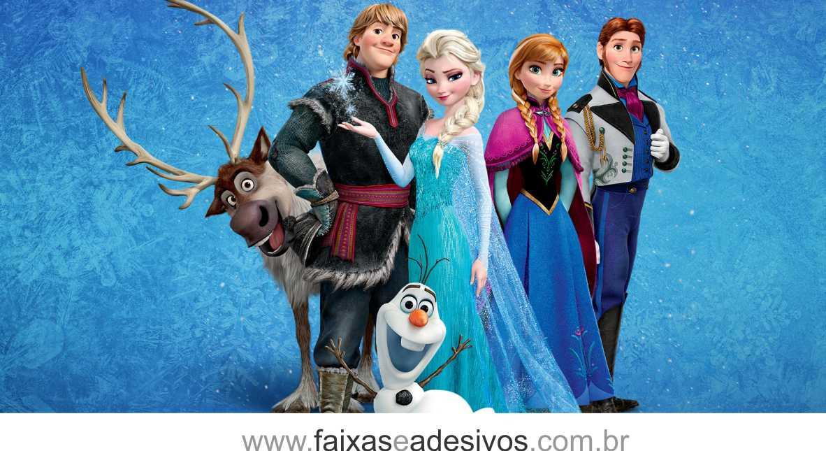 Painel de Aniversário 085 Frozen 2,00x1,50m  - FAC Signs Impressão Digital
