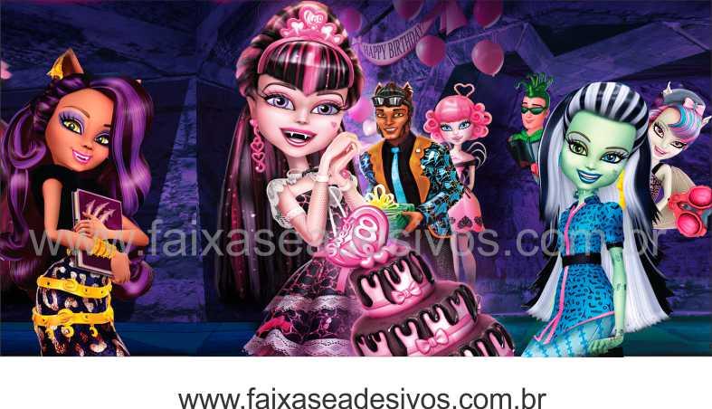Painel de Aniversário 096 Monster High 1,00x2,00m  - Fac Signs