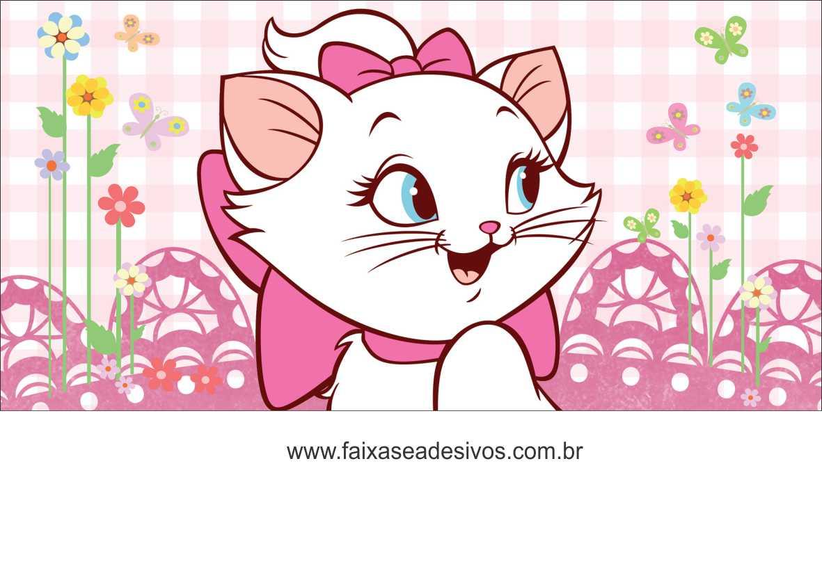 Painel de aniversário 154 Gatinha Marie 1,00x2,00m  - Fac Signs