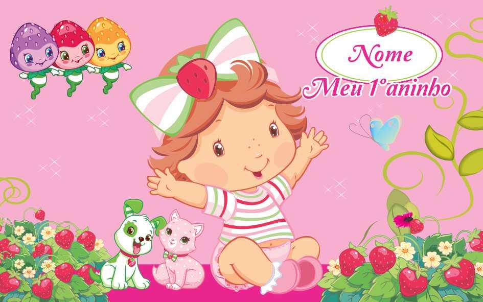 Painel de aniversário 164 Moranguinho Baby 1,00x1,60m  - Fac Signs