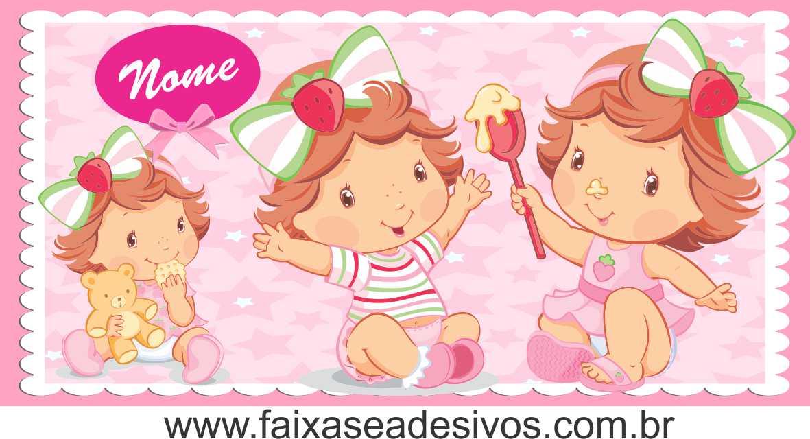 Painel de aniversário 168 Moranguinho Baby 1,00x2,00m  - FAC Signs Impressão Digital