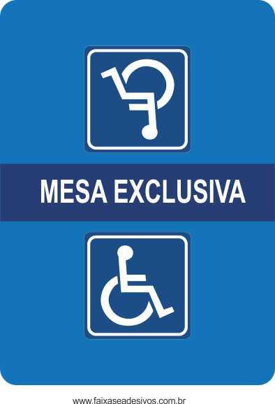 Adesivo Mesa Exclusiva Deficiente Físico 70x50cm  - Fac Signs