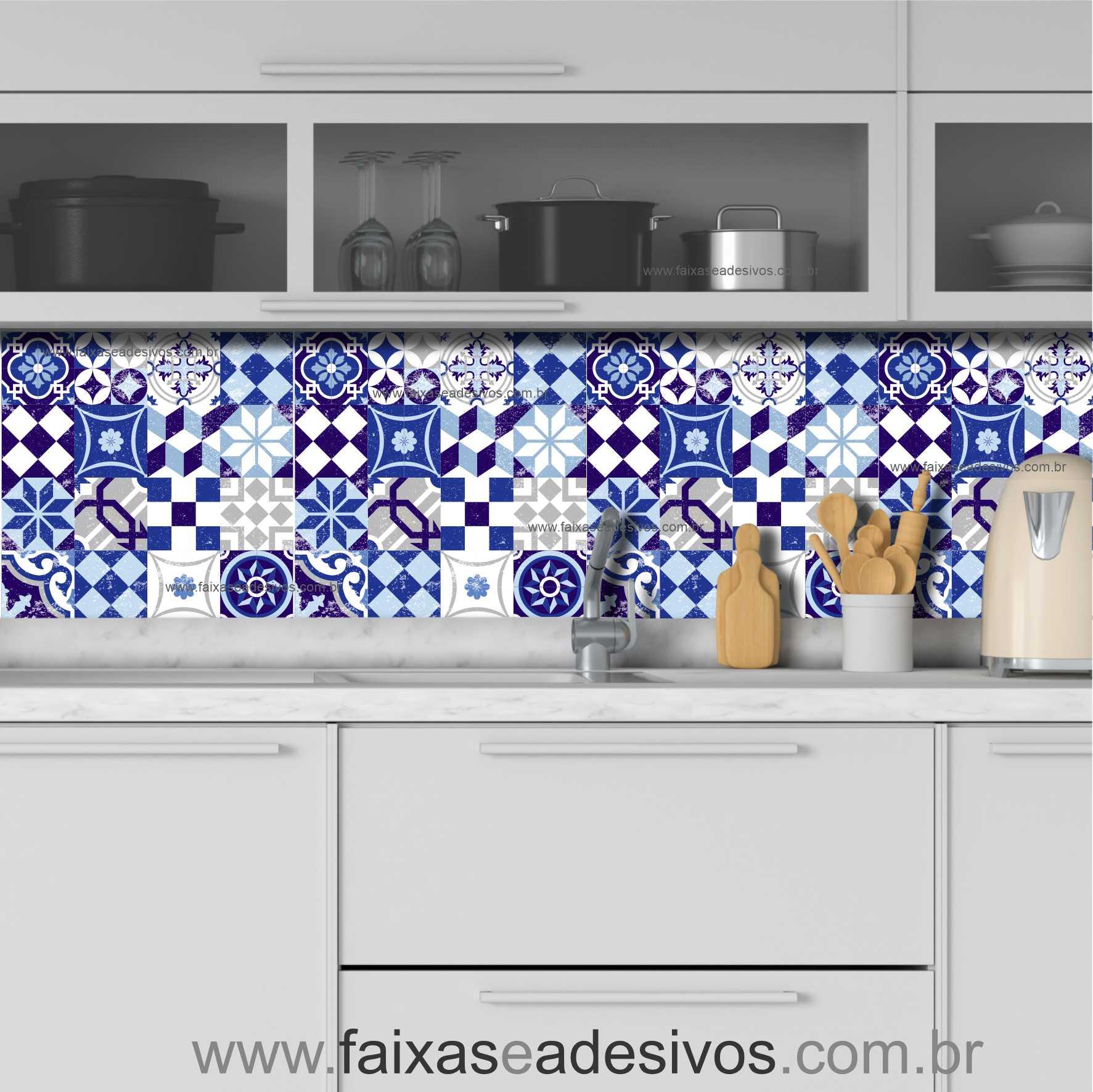 001AZ - Adesivo Azulejo - Ladrilho Azul Vintage  - Fac Signs