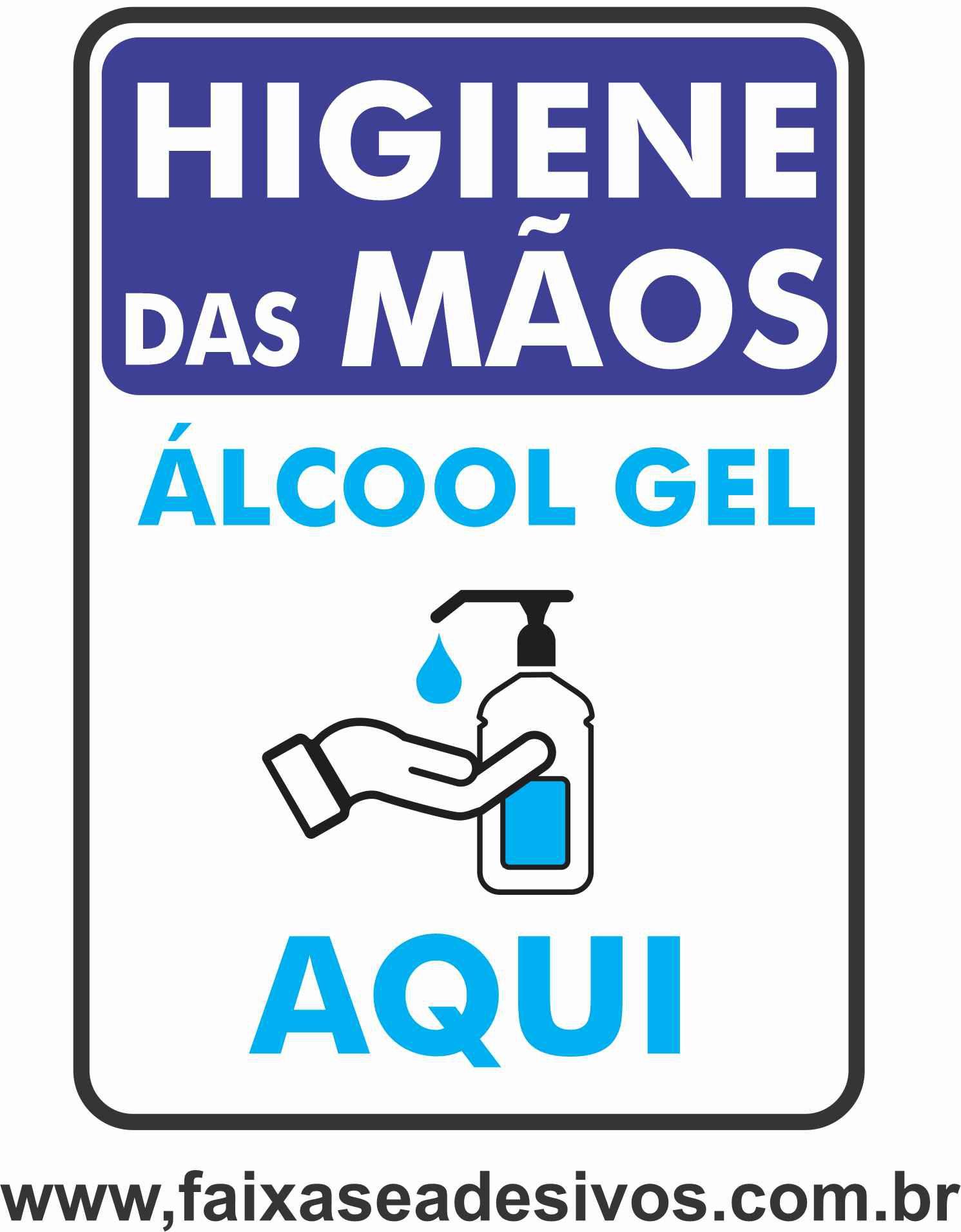 Adesivo Covid19 Álcool em Gel vertical  - Fac Signs