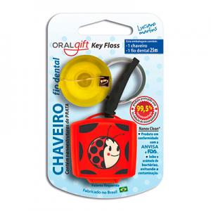 Fio Dental Chaveiro OralGift Luciano Martins com proteção de prata e zinco contra vírus e bactérias.