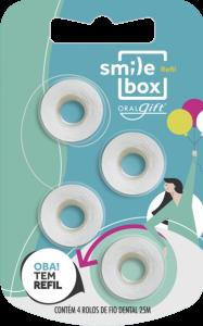 Refil Fio Dental para SmileBox Mini, New, Retrátil e Max. Embalagem econômica com 4 rolos de fio dental 25m.