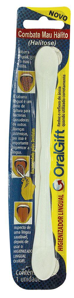 Higienizador Lingual OralGift com proteção de prata e zinco contra vírus e bactérias.