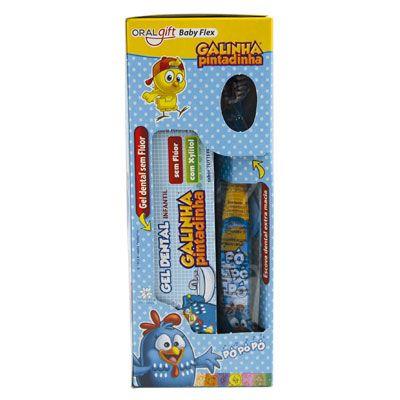 Porta Escova Kit Baby Flex Galinha Pintadinha 3x1  - OralGift