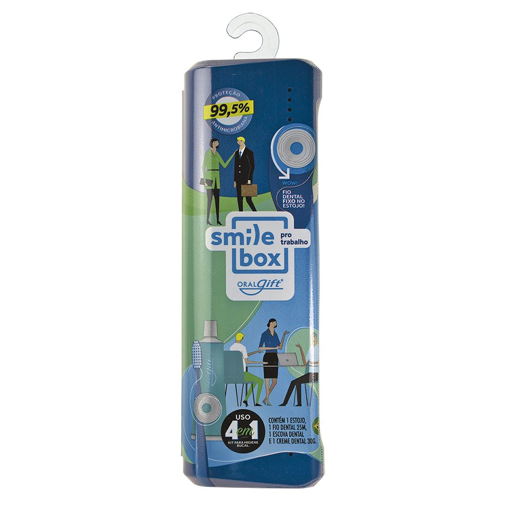 SmileBox NEW OralGift pro trabalho - Kit Estojo com proteção contra vírus e bactérias. Contém 01 fio dental de 25m + 01 escova dental com cerdas EXTRA MACIAS + 01 pasta dental 30g com flúor.