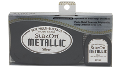 Carimbeira StazOn Metallic - Cor Silver  - JuJu Scrapbook