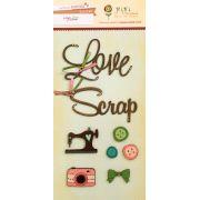 Cartela de Enfeites - Coleção Love Scrap / Juju Scrapbook